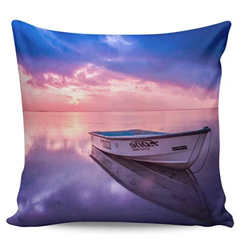 Winter Rangers Fundas de almohada decorativas: Ocean Beach Dreamy Sunrise Sunrise rosa azul mar barco marino funda de cojín corta para sofá cama, silla, ultra suave y transpirable, 50,8 x 50,8 cm