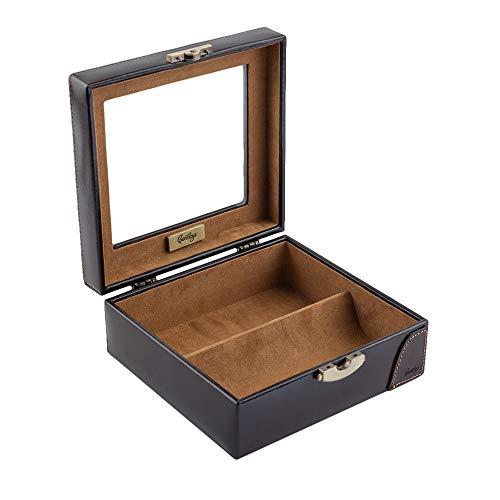 CORDAYS Real Madrid - Premium Qualität Leder Handgemachte Manschettenknöpfe Box für Zubehör wie Pins, Krawattenbindungen oder kleine Juwelen. Ideal für Reisen. Farbe Blau RMJ-80006