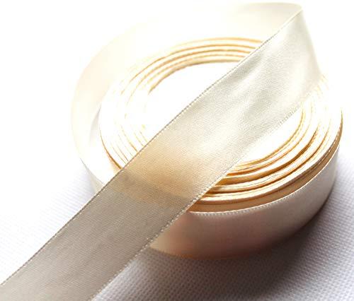 CaPiSo® 22m Satinband 25mm Breite 2,5cm Schleifenband Geschenkband Dekoband Weihnachten Hochzeit (Creme, 22m)