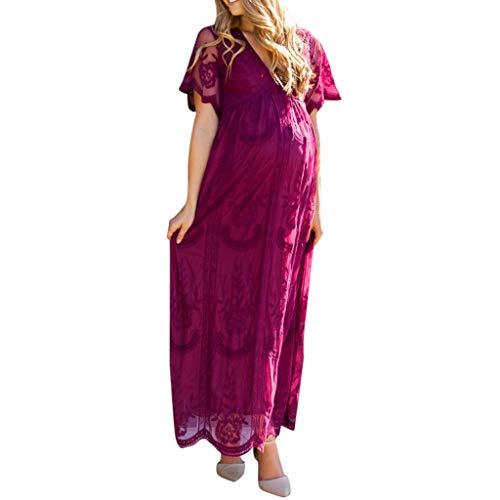 XXYsm Damen Umstandsmode Kleider Festlich Lang Sexy Kurzarm UmstandsKleid Fotoshooting Kleidung Schwangerschafts Maxikleid Hochzeit Kostüm