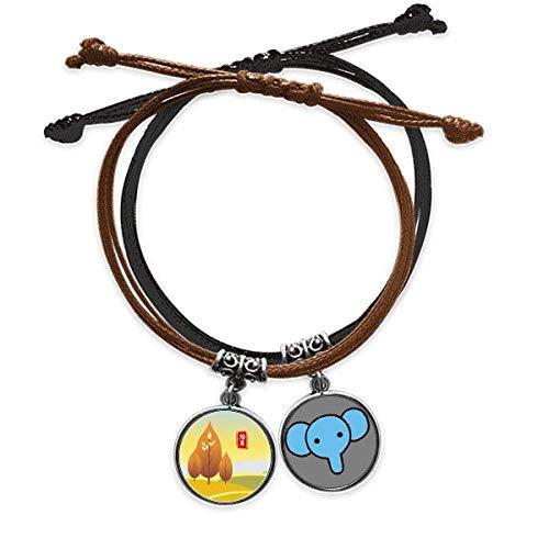 Regalo di bellezza fermando il calore ventiquattro braccialetto solare termine corda mano catena in pelle elefante Wristband