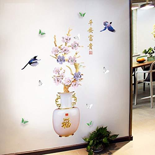Plum Blossom Vaas Muurstickers Chinese Stijl Bloemen Home Decor Goede Betekenis Kunst Behang Vogel Decoratieve Vinyls voor Muren 70 * 115Cm
