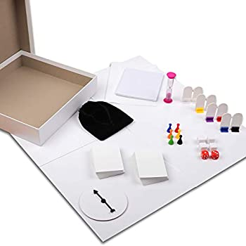 Madanar Blank Create Your Own Board Game DIY 143 Piece Set  Blank Game Board Spinner Playing Cards Dice Notepad Timer Pawns Drawstring Bag Rule Sheet Player Pieces & Storage Box