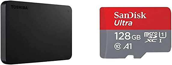 Toshiba (HDTB420XK3AA) Canvio Basics 2TB Portable External Hard Drive USB 3.0, Black & SanDisk 128GB Ultra microSDXC UHS-I...