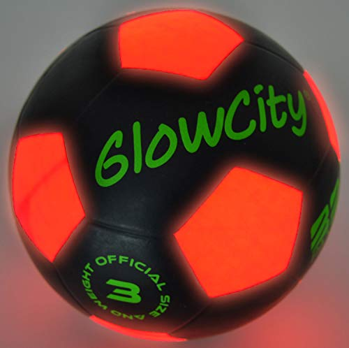 GlowCity Light-Up Soccer Ball – Size 3 Glow-in-The-Dark Mini LED Kick Ball – Fun for a Night Match