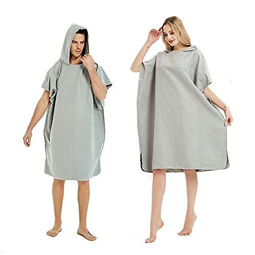 jiuyao Albornoz cambiador para baño de playa, natación, surf, capucha poncho, toalla de secado rápido (color marino) (gris)