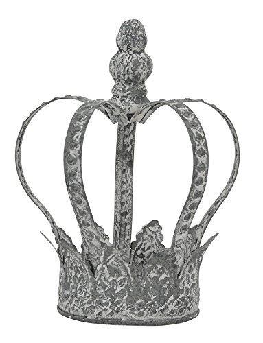 Landhausinterieur Pflanzkrone Deko-Krone Gartenkrone Metall Shabby chic Weiß-grau