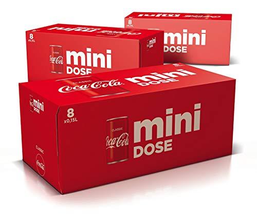 Coca-Cola Classic, Pure Erfrischung mit unverwechselbarem Coke Geschmack in der stylischen, Mini Dose, EINWEG Dose (3 x 8 x 150 ml)