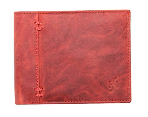 Starhide RFID Blocking Portafoglio da uomo, marrone/rosso, vera pelle con effetto anticato, porta carte di credito, documenti e portamonete, in confezione regalo–1055, RED / TAN (Rosso) - 1055