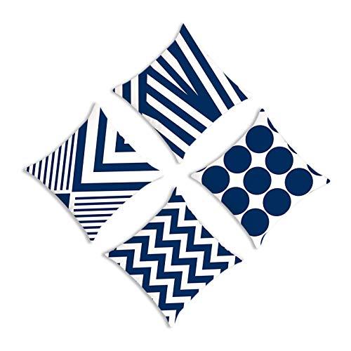 YuuHeeER Juego de 4 fundas de cojín, 4 unidades, estilo geométrico simple, tela supersuave, color azul marino