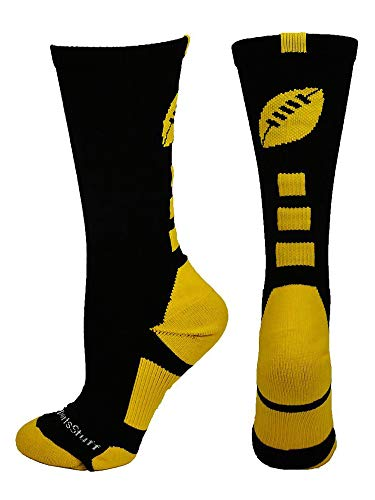 MadSportsStuff Football Logo Crew Socks, Small, Black/Gold