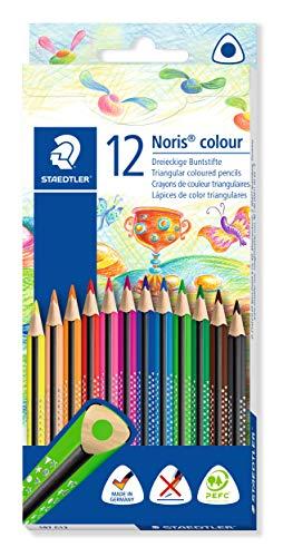STAEDTLER 187 C12 Noris Colour Buntstift, erhöhte Bruchfestigkeit, Dreikantform, attraktives Design, ergonomische Soft-Oberfläche, Wopex Material, Set mit 12 brillanten Farben im Kartonetui