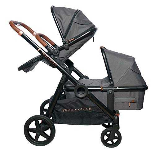 Venice Child Maverick Single to Double Stroller for Twins   Travel System with Newborn Bassinet Pram and Toddler Seat (Package 2, Twilight Grey)