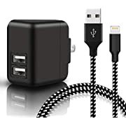 Youer Phone Wall Charger 24W 3.1A Dual Port USB Travel Wall Charger Adapter with 6FT Cable Charging Cord for Phone X, 8, 8 Plus, 7, 7 Plus, 6s, 6s Plus, 6, 6 Plus, SE - Black