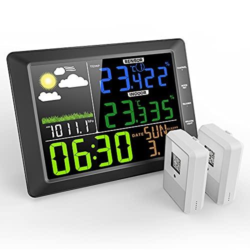 Estación Meteorológica Inalámbrica Termómetro digital Higrómetro Sensor MESTEK Exterior Exterior Interior Pantalla LCD a Color Pantalla Despertador Fecha Pronóstico del Tiempo Invernadero Dormitorio