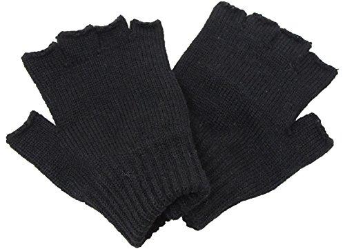 [エクサス]EXAS 手袋 指なし 無地 ウール混 日本製 ブラック