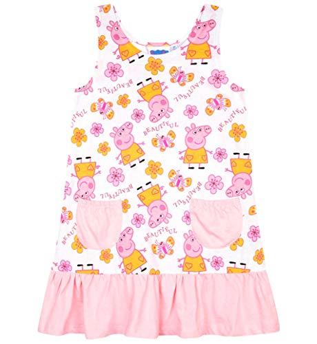 Peppa Wutz Kleid Mädchen Kurz Peppa Pig (Weiß-Rosa, 116)