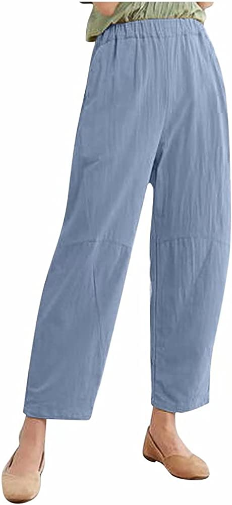Ekaliy-Women's Casual Pants Loose Breathable Elastic Belt Simple Pocket Cotton and Linen Stitching Solid Color Fashion Trousers-Blue-4Xl Army Green