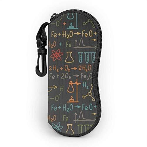 Funda de Gafas Fórmula química matemática colorida química en pizarra negra Ultra Ligero Neopreno Suaves viaje Estuche para Gafas de caso Bolsa con Clip de Cinturón