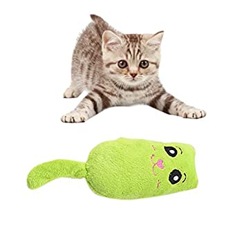 HUANCO Chat Animal De Compagnie Chat Menthe Simulation Chat Interactif Jouets à MâCher Peluche Indestructible Toy (Vert,16.5X 5.5CM)