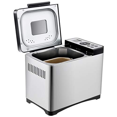 RELAX4LIFE Brotbackautomat, 650 W, Edelstahl, Brotbäcker, 500–1000 g Brotgewicht, Brotbackmaschine mit LED-Anzeige, 19 Programme und Glutenfrei, 15 H Timer und Warmhaltefunktion