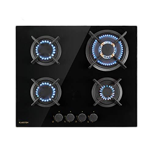 Klarstein Goldflame – cocina de gas, para instalar, quemador de latón, propano, gas natural, válvula de seguridad, apagado automático, soporte de hierro fundido, 4 llamas, autárquico, 60 cm, negro