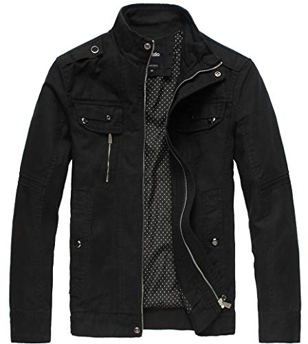 Wantdo Men's Cotton Stand Collar Lightweight Front Zip Jacket Black,Large