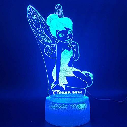 Lámpara de ilusión 3D Led Luz de Noche Princesa Tinker Forma de Campana Decoración del Hogar Brillante Cambio de Color Sensor Táctil Bebé Mejor Cumpleaños Regalos de Vacaciones para Niños