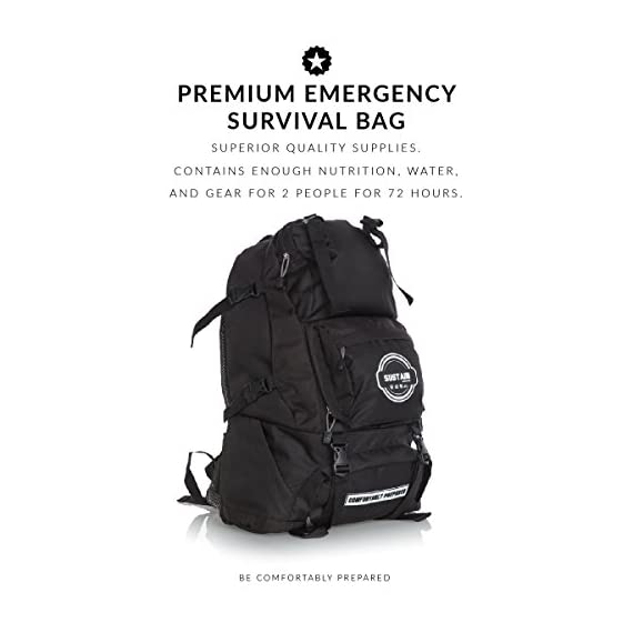 Sustain supply co. Premium emergency preparedness go bag perfect for your family - 72 hours of everything you need to survive emergency disasters, hurricanes, earthquakes 4 72-hour sustainability: the first 72 hours after a disaster are the most critical as rescue teams work their way through the affected area. The 2-person sustain supply co. Premium emergency go bag contains enough nutrition and water for the 2 of you for those 72 hours. Superior quality supplies: all of the items provided in your emergency go bag are premium. All items included: 12 servings of food, 2 aqua literz waters (33. 8 oz refillable cartons), 2 sustain water filtration straws, 4 cyalume snaplights, 1 led lantern, 1 flashlight, 1 fully stocked first aid kit, bath wipes, 2 emergency blankets, 1 portable stove, 2 bowls and utensils, 1 morakniv knife, 1 ferrocerium rod, 2 instafire tinder, and 2 whistles. Premium emergency go bag: this 2-person emergency go bag contains supplies for two people to survive a natural disaster. When facing a crisis, you can rely on your kit to provide first aid, basic nutrition, hygiene and more.