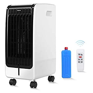immagine di DREAMADE Condizionatore a Evaporazione 3 in 1 con Ventilatore e Umidificatore, Condizionatore Climatizzatore Portatile, con 3 Velocità,con Telecomando,Serbatoio Acqua 6L,75W