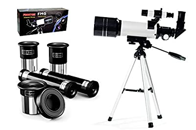 FMG 70mm Refractor Telescope for Kids & Beginners with Tripod, Moon Mirror & Finder Scope with 3 Magnification eyepieces, Barlow lens, Erecting eyepiece