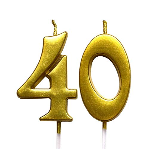 Gold 40th Birthday Numeral Candle, Number 40 Cake Topper Candles Party Decoration for Women or Men