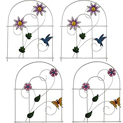 Gift Boutique Decorative Painted Metal Garden Fence 4 Pack Flower Design Border Edge Gate for Yard Patio Lawn Landscape and Outdoor Decor