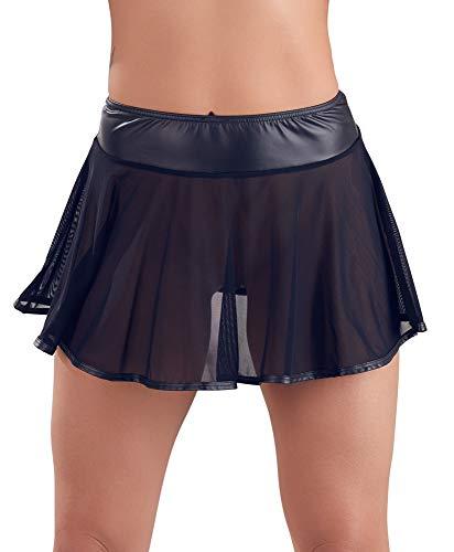 Orion transparenter Minirock - kurzer Rock für Damen, verführerische Netzoptik, Matt-Details, figurbetont, schwarz (M)