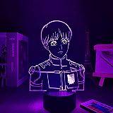 Lámpara de noche 3D con diseño de anime Armin Arlert 3D lámpara Attack on Titan LED luz nocturna para niños, decoración de Navidad, cumpleaños, regalo, manga, juguete de mesa, 7 colores táctiles