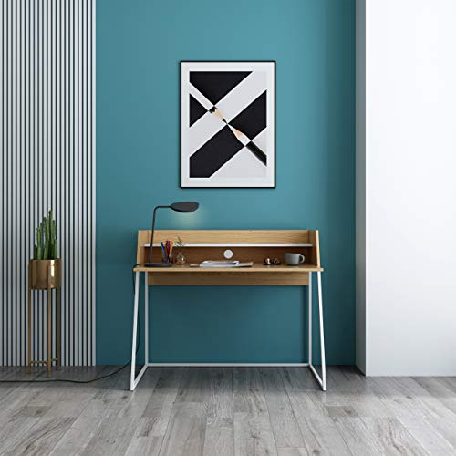 Mc Haus KALA - Escritorio Madera y Blanco, Mesa de oficina para ordenador Despacho Estudio, Consola con 2 estantes y patas blancas 120x62x89cm