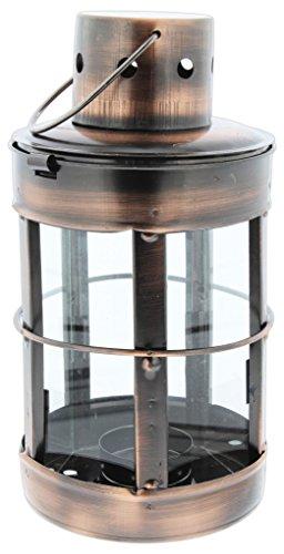 "Distinctive Designs Tea Light Candle Lantern Bronze-Tone Metal 8.5"""