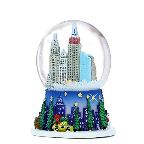 2.5 Inch Mini New York City Christmas Snow Globe and Rockefeller Center Skyline NYC Snow Globes