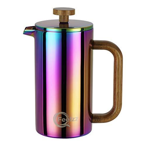 QFeelzz French Press mit stylischem Akazien-Holz im schillernden Regenbogen Design - hochwertiger Kaffeebereiter inkl. Ersatzfiltern [600ml] – doppelwandiger Edelstahl