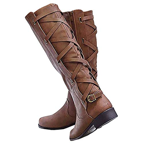 Womens Winter Lace Up Knee High Riding Boots Fall Zip Up Mid Calf Closed Toe Flat Low Heel Boots