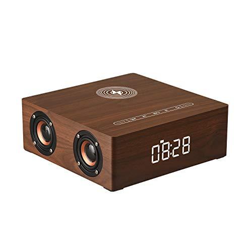 CNMF Bluetooth-luidspreker met Qi draadloze oplader wekker, touch-toets 12 watt Bluetooth voor handsfree, draadloze luidspreker voor alle Qi-functies Wood Craft-compatibiliteit