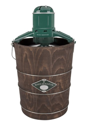 White Mountain Electric Ice Cream Maker with Appalachian Series Wooden Bucket, 6 Quart (PBWMIME612-SHP)