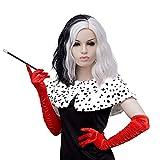Peluca de pelo corto en blanco y negro | FVCENT para Halloween y Carnaval, Cruella de Vil, mitad negro y blanco, corta para cosplay, con guantes rojos largos y accesorios