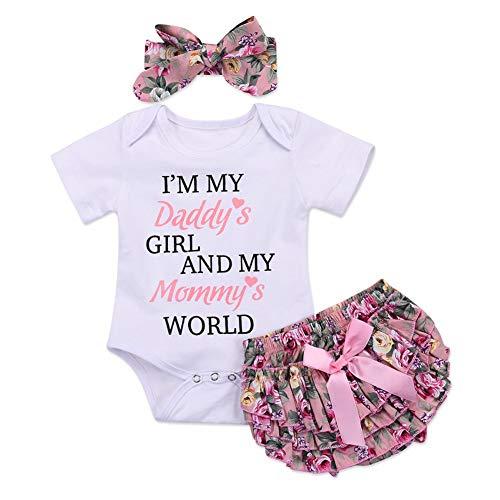 Shiningbaby Ich Bin das Mädchen meines Vatis und die Welt meiner Baby-Sommerkleidung, die Strampler-Tops und Bloomers Kurze Stirnband-Outfits setzt