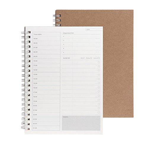 MB-LANHUA Planner Book Agenda settimanale settimanale giornaliera Agenda Diario in Bianco Notebook di Studio Fai-da-Te D #