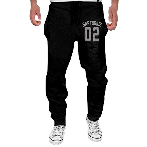 Men's Simple Jacob Sartorius Logo Black Sweatpant Sport Casul Pant XX-Large