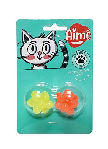 AIME - Juguete para Gato, Pelotas con púas y Sabor, para Masticar, Ayuda a Limpiar los Dientes