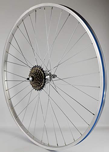 wheelsON 700c 28' Rear Wheel + 6 spd Shimano Freewheel Mountain Bike Silver 36H Single wall
