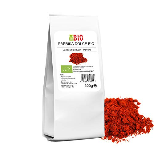 Paprika Rossa dolce polvere Bio 500 g - 100% Naturale Gluten free Vegan - Spezia da cucina per condimenti - LaborBio