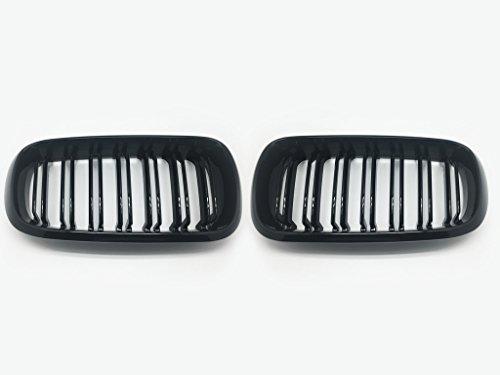(2) M Double fin Noir brillant avant Capuche Grill Grille pour 2014–2016 F15 X5 F16 X6 SUV